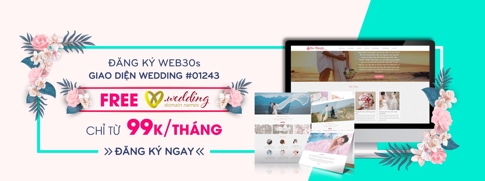 FREE .WEDDING khi đăng ký Web30s